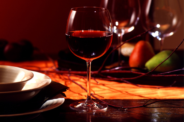 Red Wine on Autumn Table