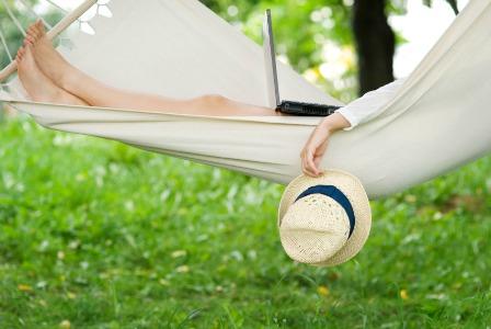 Mom relaxing in a hammock