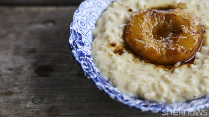 Peaches and cream rice pudding is