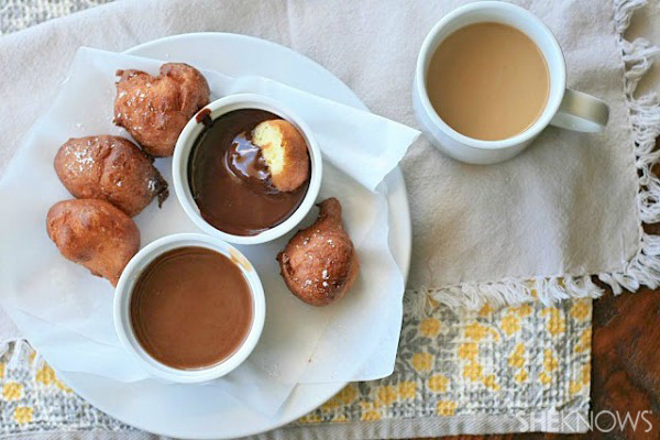 Gluten-free ricotta doughnuts with chocolate and caramel dipping sauces