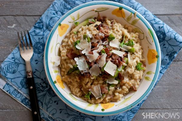 Creamy fontina risotto with bacon recipe