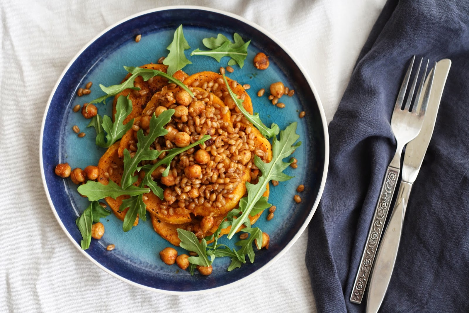 Roasted squash chickpea and wheat berry salad
