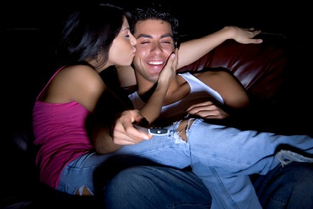 Couple watching movies on Valentine's Day
