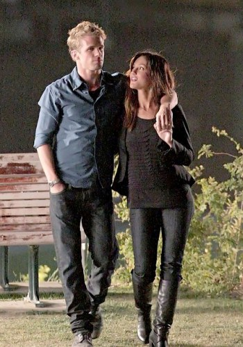 Cam and Leighton on the set of The Roommate