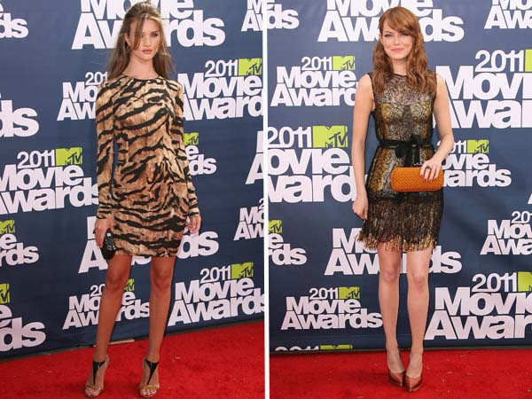 Emma Stone and Rosie Huntington-Whiteley at the 2011 MTV Movie Awards