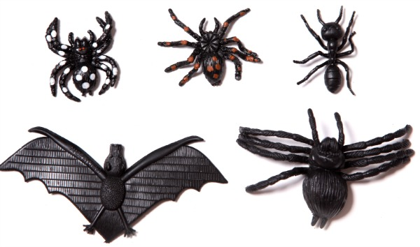 Rubber spiders and bats