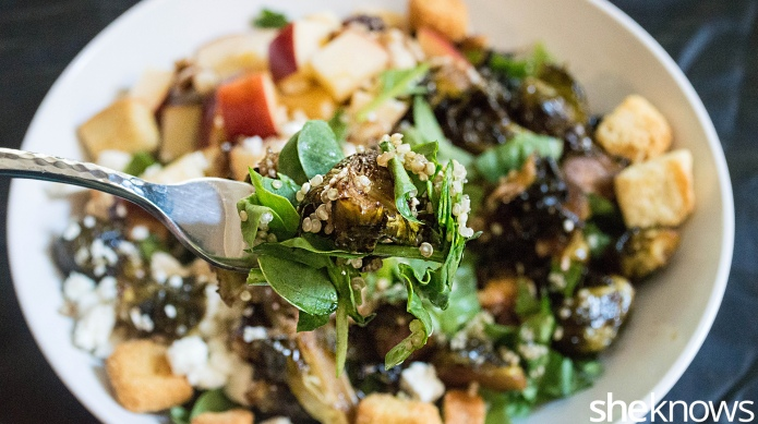 Quinoa salad with roasted Brussels sprouts