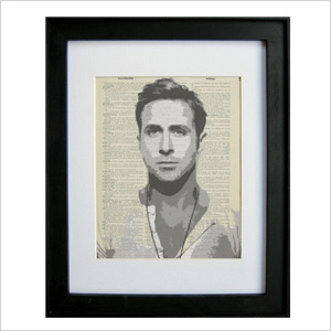 Ryan Gosling print on antique dictionary page