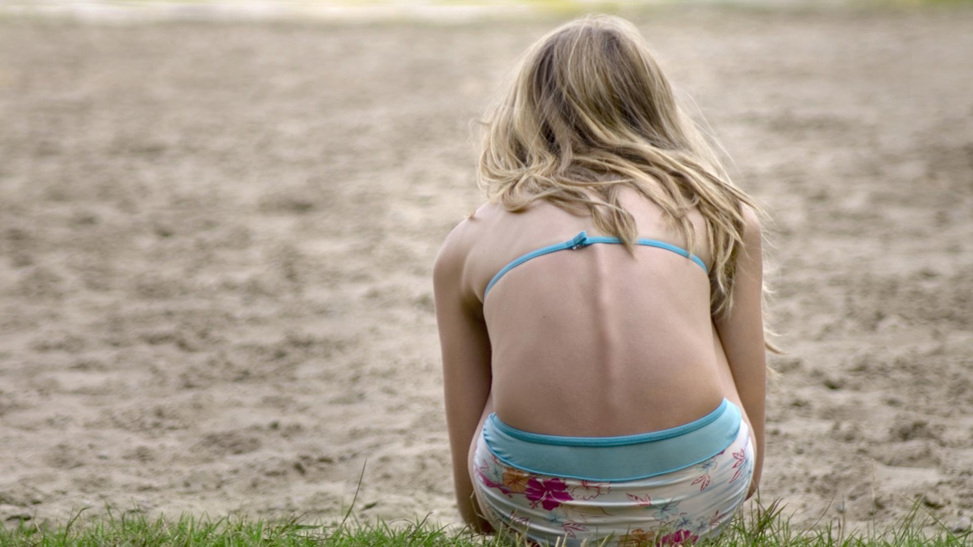 Sad thin girl