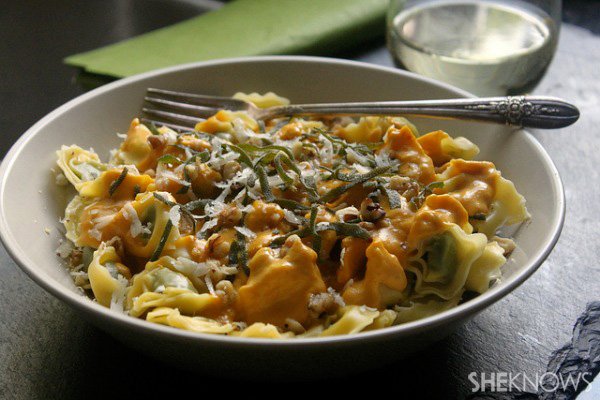 pasta with pumpkin cream sauce with crispy sage