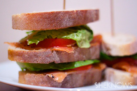 salmon lettuce and tomato sandwich