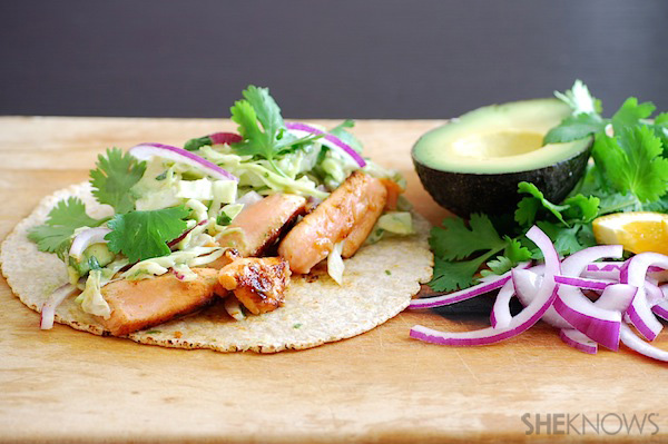 orange salmon tacos