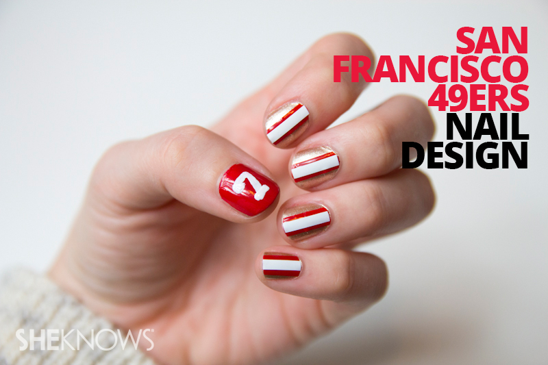 San Francisco 49ers nail design