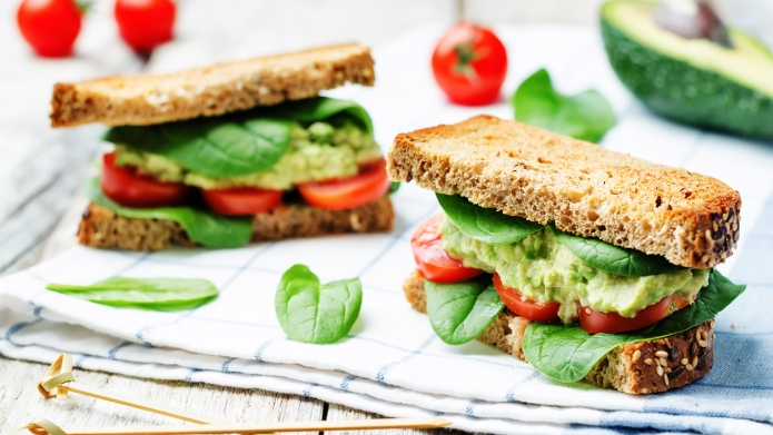 Smashed avocado spinach tomato grilled rye