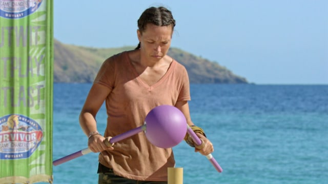 Sarah Lacina competes in challenge on Survivor: Game Changers