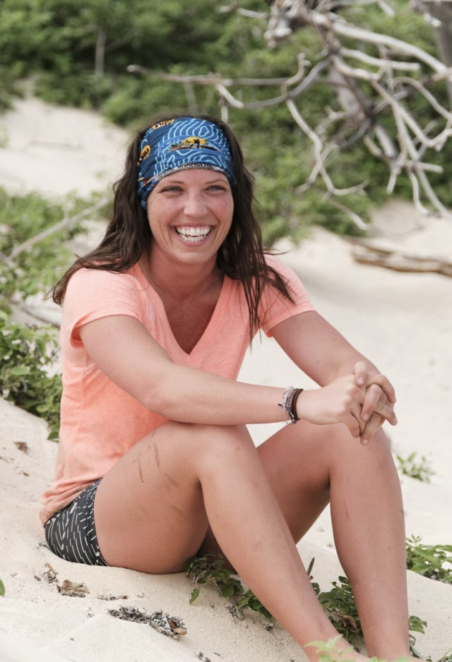 Sarah Lacina at camp on Survivor: Game Changers
