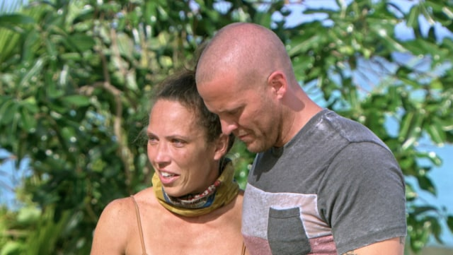 Sarah Lacina with loved one on Survivor: Game Changers
