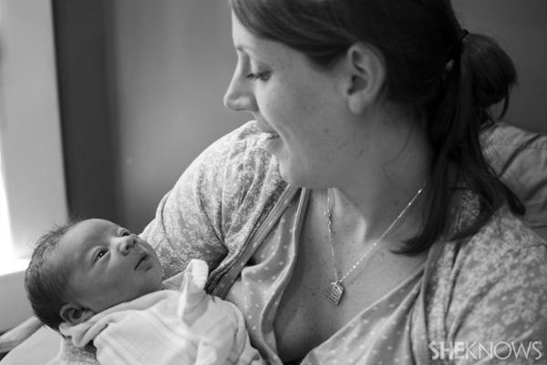 Sarah Reinhart with her baby