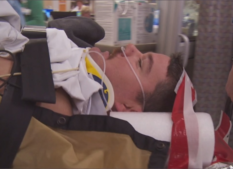 Injured firefighter from Save My Life.