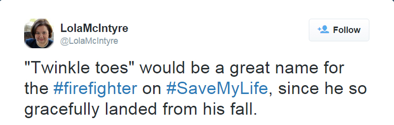 Tweet about the Save My Life firefighter.
