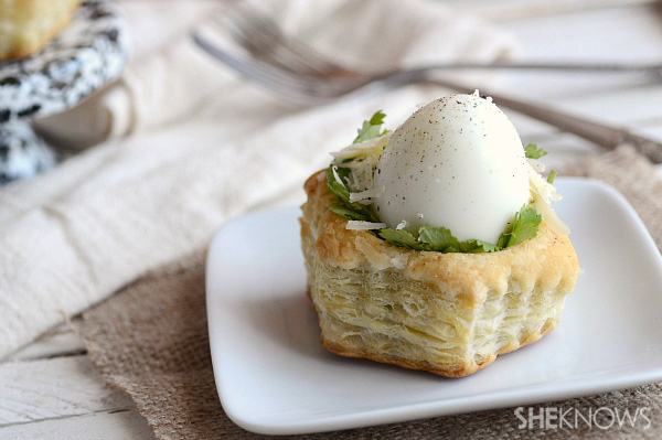 Savory eggs in a nest