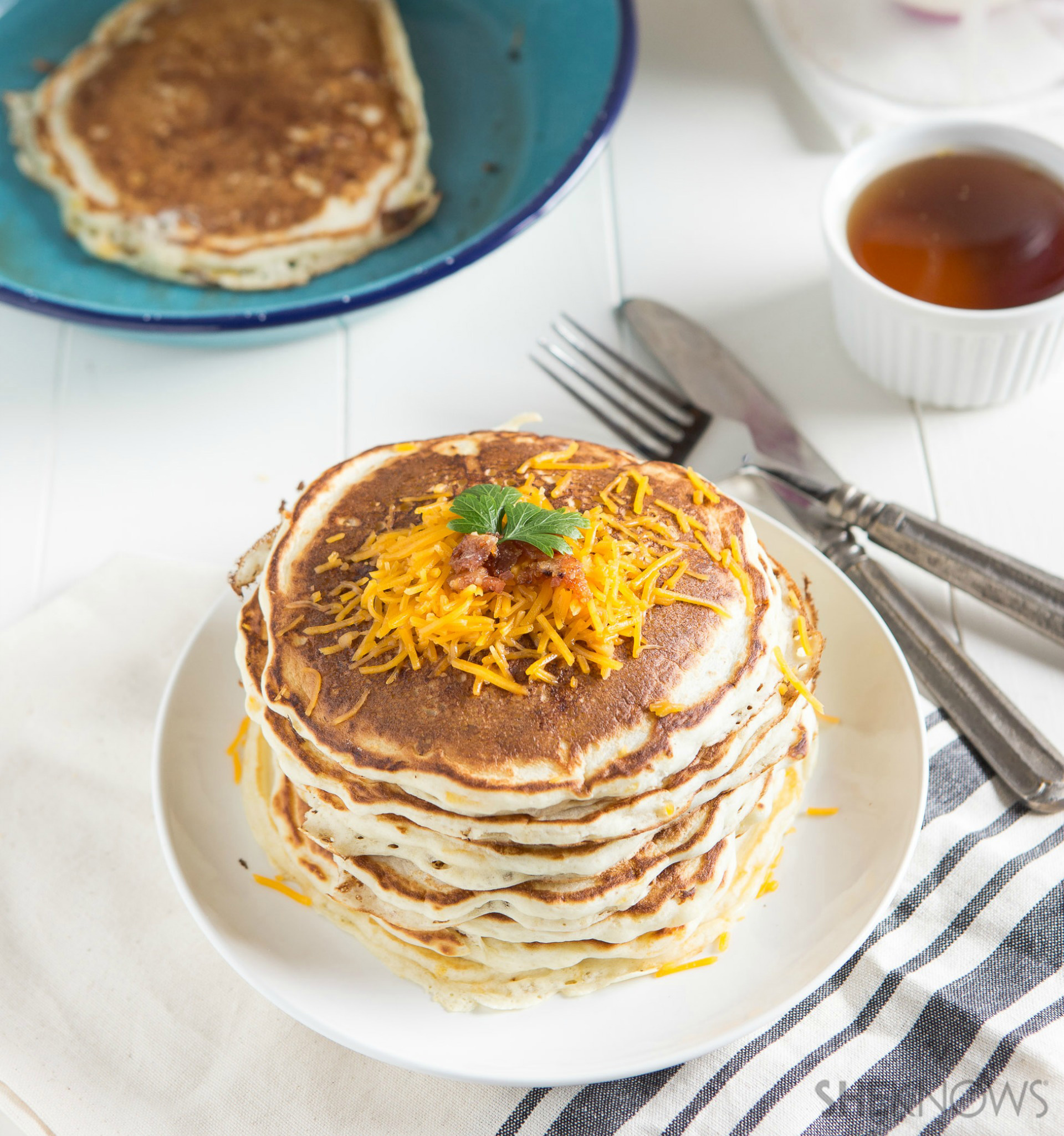 Savory bacon and cheese pancakes