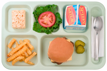 School lunch with cheeseburger | Sheknows.com