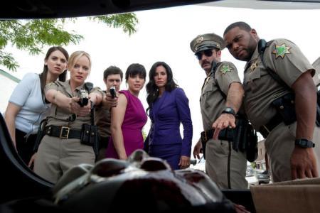 Alison Brie, Neve Cambell, Courteney Cox and David Arquette in Scream 4
