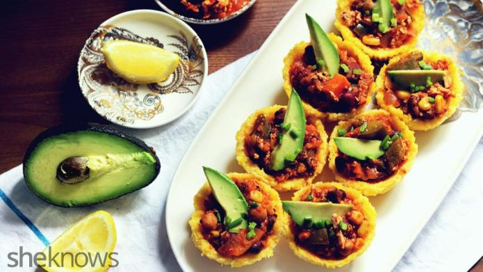 Mini vegan chili polenta cups are