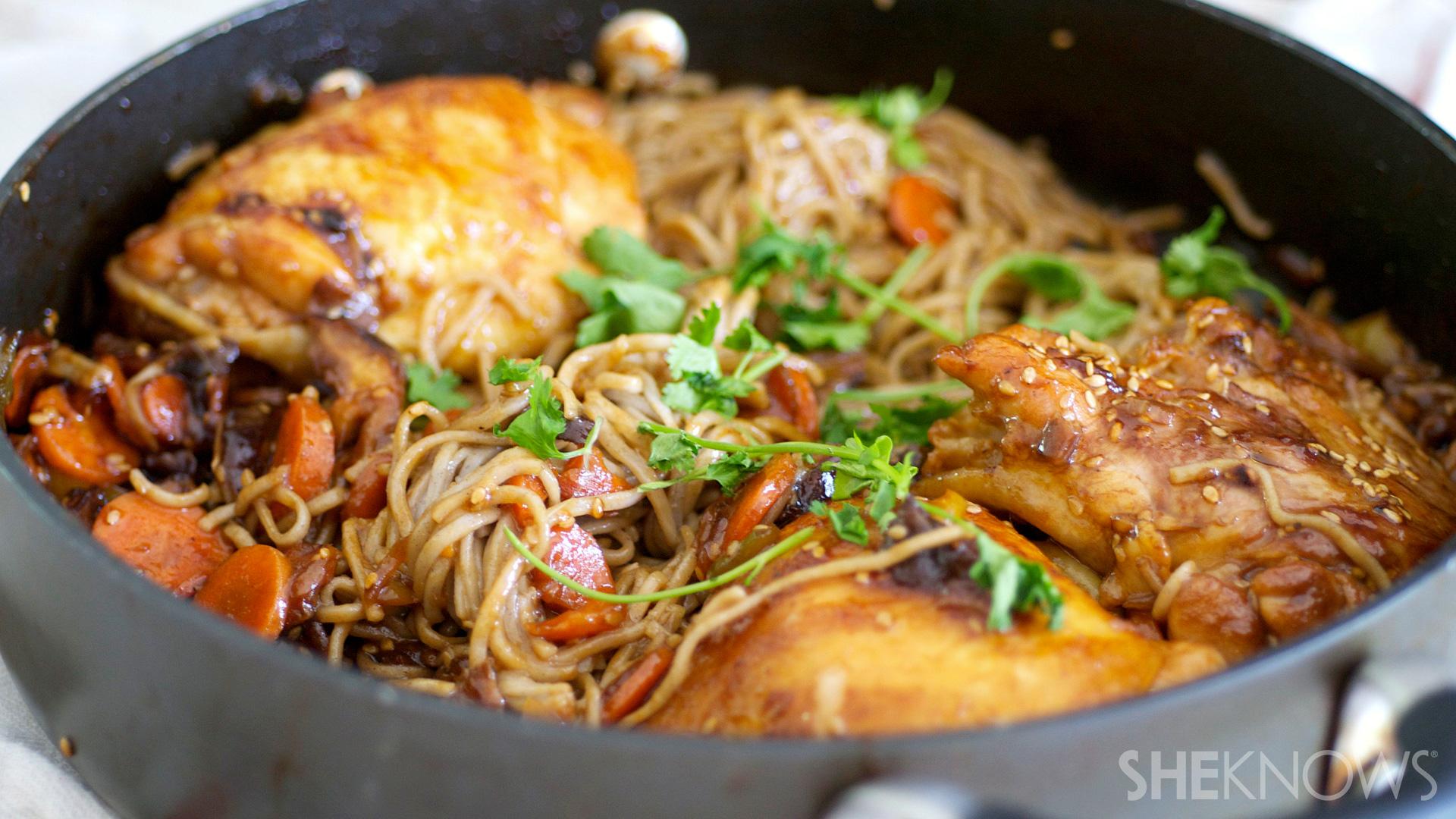 Sesame chicken and hoisin soba noodles
