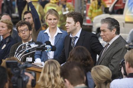 Cameron Diaz listens to Seth Rogen in The Green Hornet