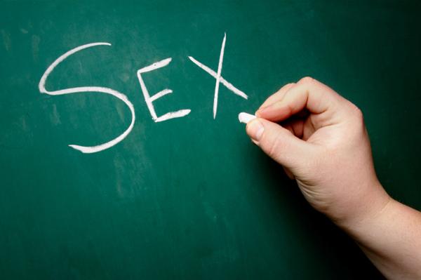 Sex written on blackboard