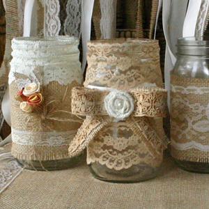 Vintage lace on burlap jars