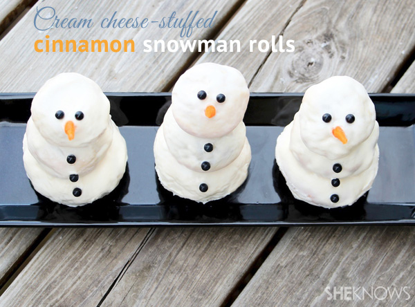 Cream cheese-stuffed cinnamon snowman rolls   SheKnows.com