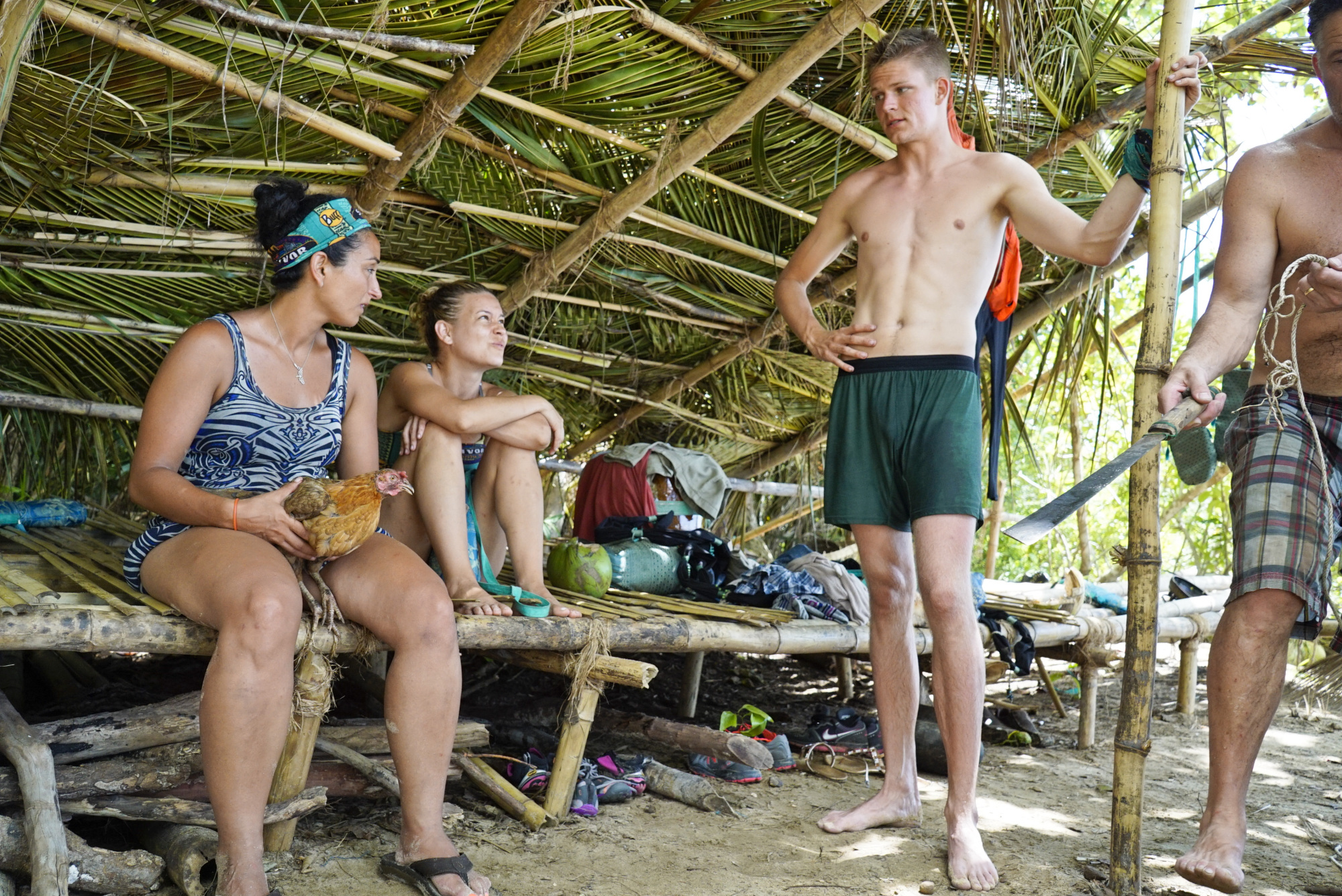 Shirin Oskooi, Abi-Maria Gomes and Spencer Bledsoe at Ta Keo camp on Survivor: Second Chance