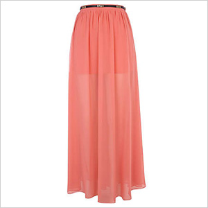 Pink Belted Full Maxi Skirt