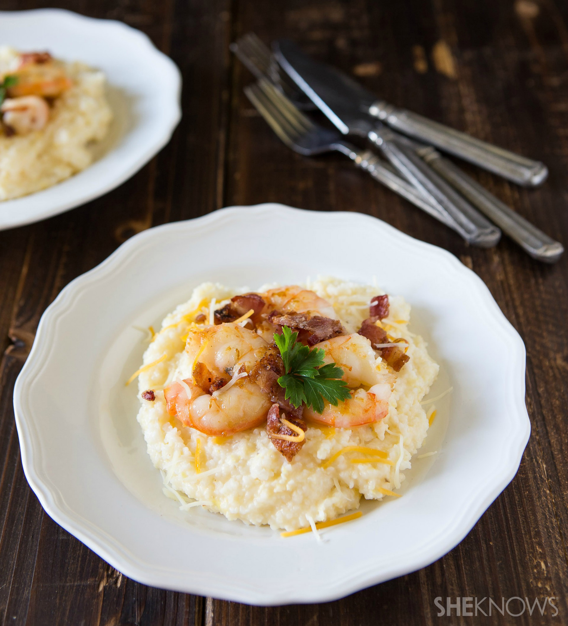 Cheddar stone ground grits with bacon and shrimp