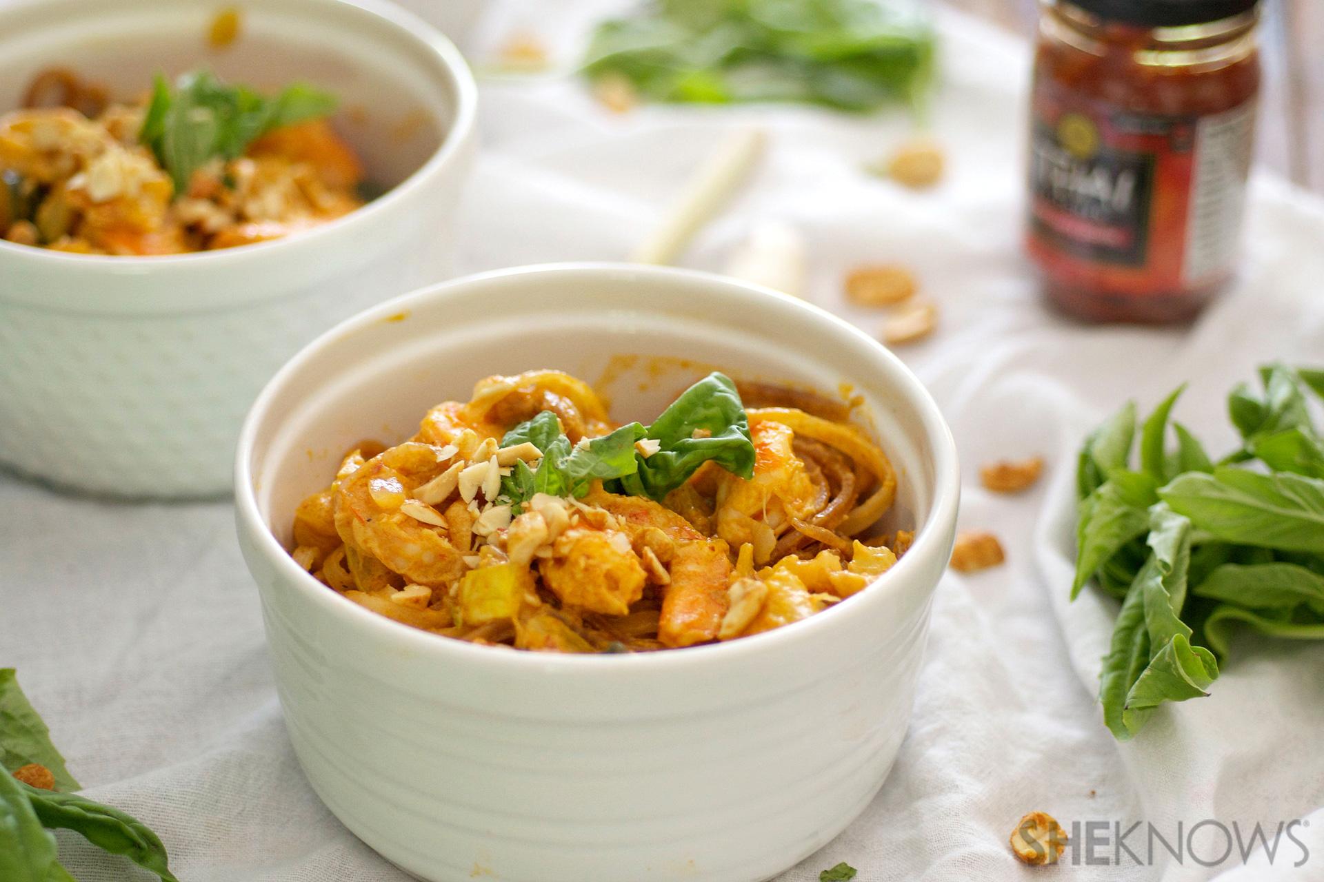Quick thai coconut curry shrimp bowls