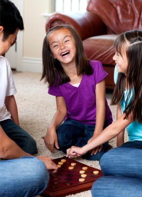 Siblings playing games