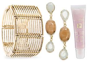 bracelet, earrings and lip gloss