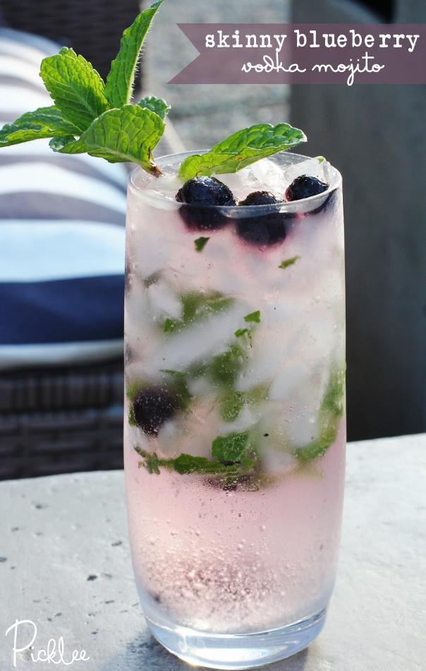 Blueberry vodka mojito cocktail