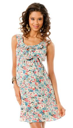 sleeveless ruffled maternity dress