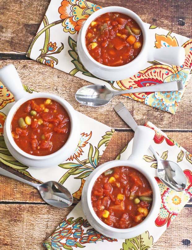 Slow cooker vegetable and Spam soup
