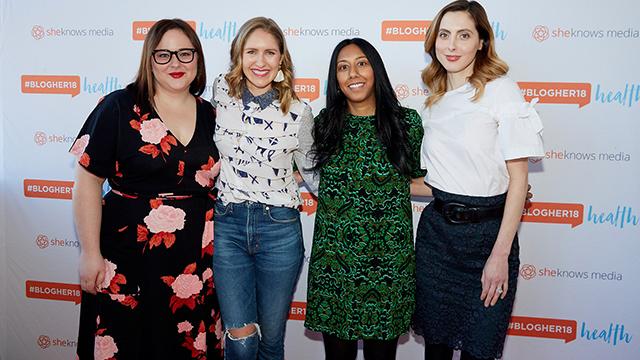 Kendall Rayburn, Phoebe Lapine, Reshma Gopaldas and Eva Amurri Martino on the red carpet at BlogHer18 Health