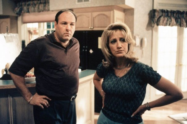 James Gandolfini and Edie Falco in HBO's The Sopranos