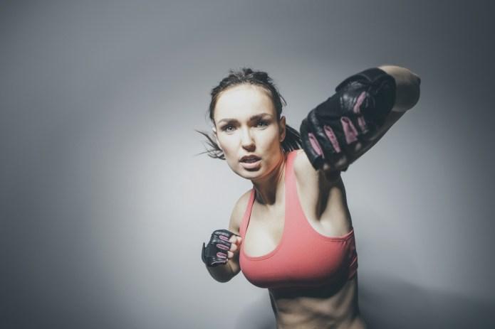 Portrait of Caucasian woman in fighting