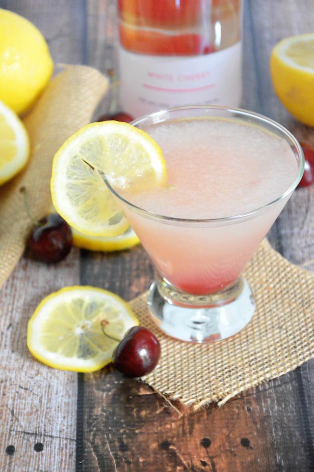 Spiked cherry lemonade slushie