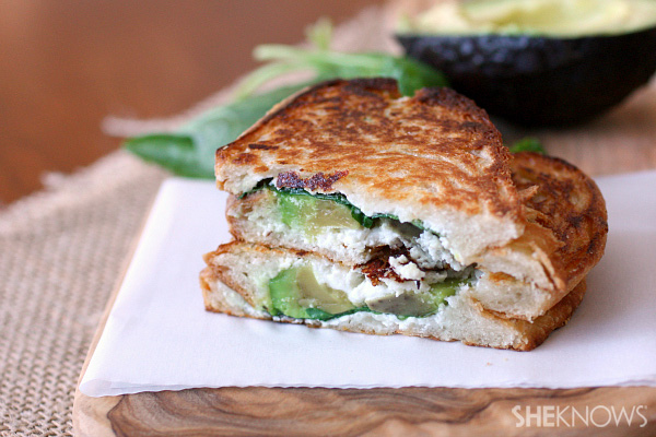 Spinach, goat cheese and avocado grilled cheese