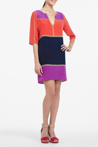 Check it out: Bright silk color block dress ($288)