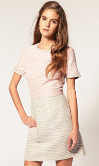 Fitted tweed two-tone dress in pale pink and gray ($99)